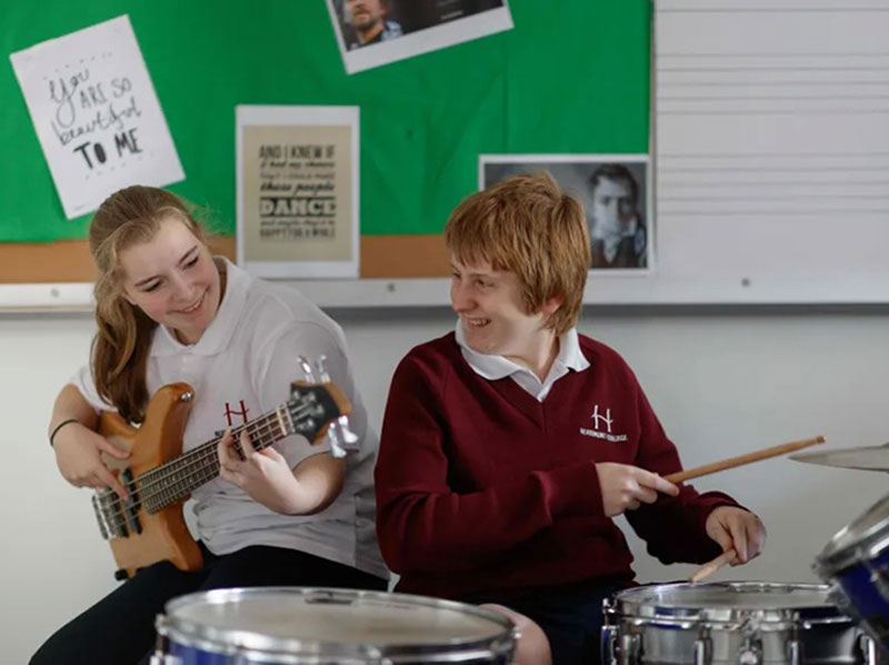 Students playing drums and bass