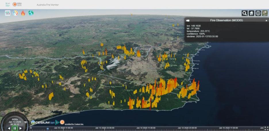 Screenshot of the bushfire situation awareness application