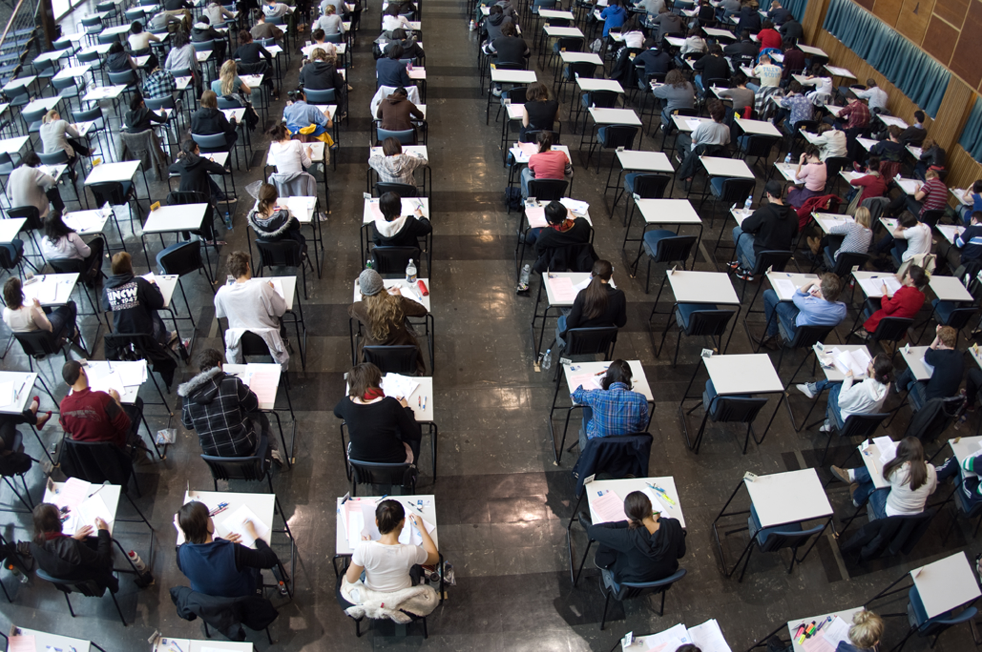 Students sitting an exam in Wilson Hall