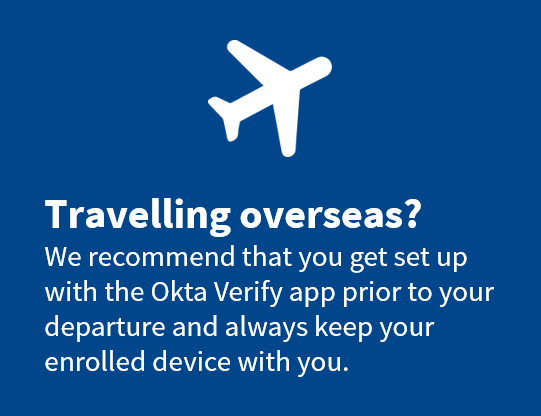 Airplane icon prompting users to enrol in advance of travelling overseas