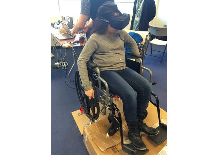 A wheelchair being used as an input device for a virtual environment
